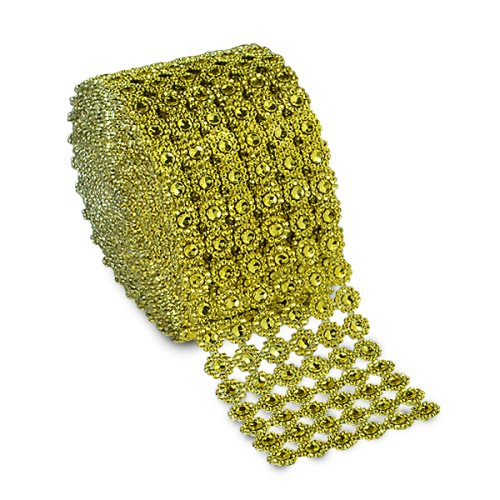 E7004 Gold Diamond Faux Daisy Rhinestone (Look) Mesh Wrap Trim
