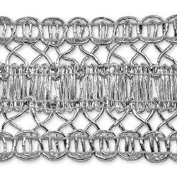 "E7025 Silver Metallic Braid Sewing Craft Trim 1 1/2"""