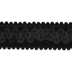 """E7039  Black Trim Sequin Stretch  7/8"""""""