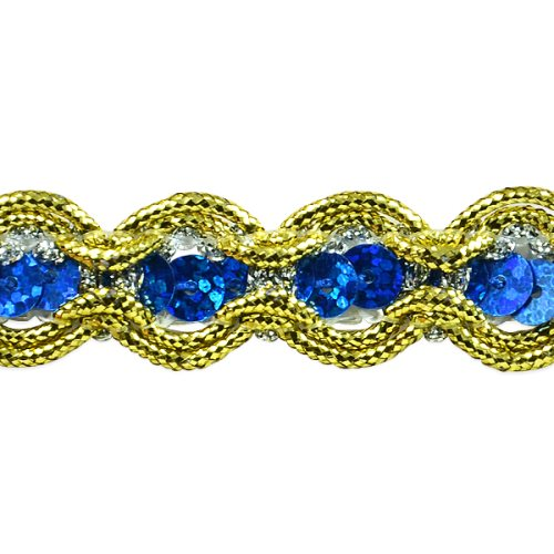 E8044 Royal Blue Gold Sequin Cord Sewing Craft Trim 5/8""