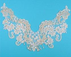 """E144 White Lace Flower Collar Venise Lace Beaded Sequin Appliques 16 3/4"""""""