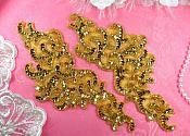 "Sequin Appliques Gold MIRROR PAIR Scroll Designer Beaded Iron On 9"" (XR356X-gl)"