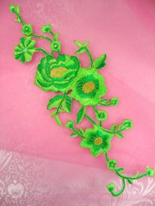 GB158 Embroidered Applique Lime Green Gold Rose Iron On Patch 10""