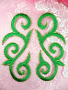GB164 Embroidered Appliques Green Gold Scroll Mirror Pair Iron On Patch 7""