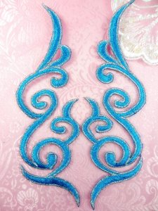 GB89 Embroidered Appliques Turquoise Silver Edge Mirror Pair Iron On Patch 6.75""