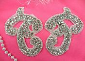 "Crystal Rhinestone Appliques Silver Beaded Mirror Pair 3.75"" (ACT/XR354X/A-slcr)"