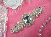 Designer Rhinestone Applique Silver Beaded Pearl Victorian 3.5 (AFS384-slcrp)