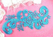 "Turquoise Embroidered Applique Venice Lace Floral 6.75"" (GB140-tr)"