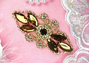 "Crystal Rhinestone Embellishment Marquise Brown Gold Metal Back 3.25"" (GB335-brgl)"