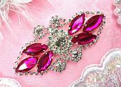 """Crystal Rhinestone Embellishment Marquise Fuchsia Silver Metal Back 3.25"""" (GB335-fssl2)"""