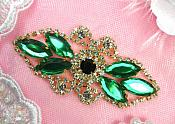 "Crystal Rhinestone Embellishment Marquise Green Gold Metal Back 3.25"" (GB335-grgl)"