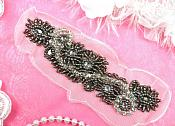 "Crystal Rhinestone Applique Charcoal Smoke Beaded Floral On Mesh Backing 6"" (MS113-smcr)"