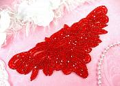 "Red Applique Designer Beaded Iron On Patch  7.75"" (MS114-rd)"