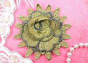 "3D Applique Floral Gold Embroidered Flower 3"" (MS117-gl)"