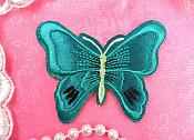 "Butterfly Applique Turquoise Embroidered Iron On Patch 3"" (MS118-tr)"