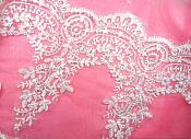 "Wide White Trim Venice Lace Crystal Sequin 10"" x 2.5 Yards (MS119-whcr)"