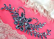 "Crystal Rhinestone Applique Light Ice Blue Embellishment Silver 7.5"" (XR119-lbl)"