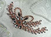 "Rose Gold Embellishment Crystal Rhinestone Applique 7.5"" (XR119-rsglcr)"