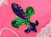 "Fleur De Lis Applique Mardi Gras Beaded Sequin Iron On 6"" (XR355L-mg)"