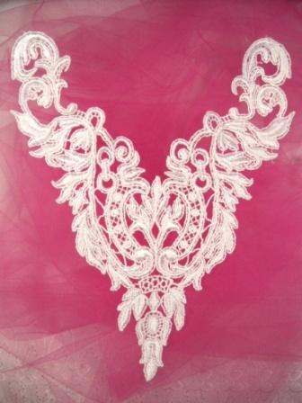 F25  White Yoke Collar Venise Lace Applique 10""