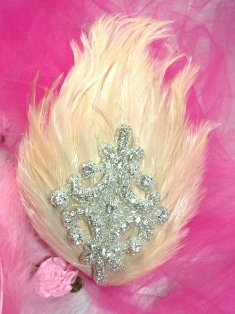 FB35  Beige Feather Crystal Rhinestone Applique Brooch 7&quot;
