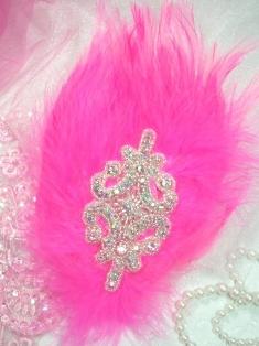 """FB37  Hot Pink Feather Crystal AB Rhinestone Applique Brooch 7"""""""