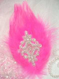 FB38  Hot Pink Feather Crystal Rhinestone Applique Brooch 7&quot;