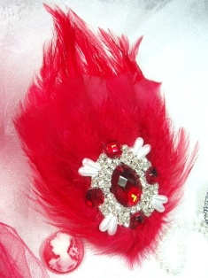 FB41 Red Feather Crystal Rhinestone Applique Brooch 7&quot;