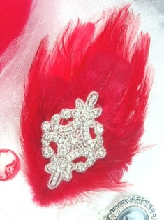 FB42 Red Feather Crystal Rhinestone Applique Brooch 7&quot;