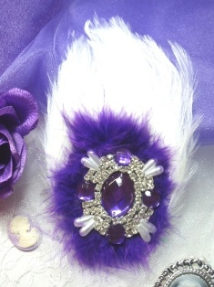 FB43  White and Purple Feather Crystal Rhinestone Applique Brooch 7&quot;