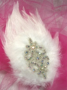 FB46 White Feather Crystal AB Rhinestone Applique Brooch 7&quot;