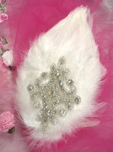 FB47 White Feather Crystal Rhinestone Applique Brooch 7&quot;
