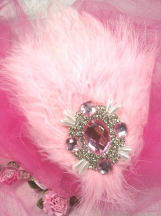 FB48  Light Pink Feather Crystal AB Rhinestone Applique Brooch 7&quot;