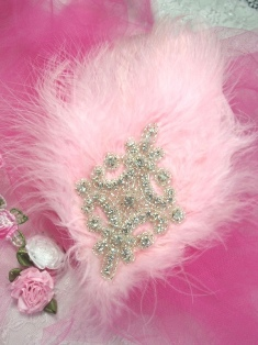 FB49  Light Pink Feather Crystal Rhinestone Applique Brooch 7&quot;
