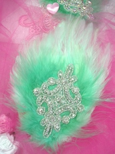 FB50 Mint Green Feather Crystal Rhinestone Applique Brooch 7&quot;