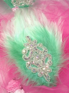 FB51  Mint Green Feather Crystal AB Rhinestone Applique Brooch 7&quot;
