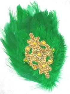 """FB52 Green Feather Gold Rhinestone Applique Brooch 7"""""""