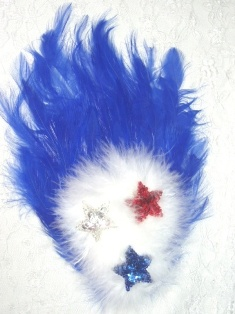 FB54  Patriotic Feather Sequin Applique Brooch 7&quot;