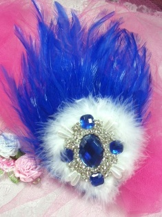 FB55  Blue and White Feather Crystal Rhinestone Applique Brooch 7&quot;