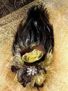 FB56 Brown & Beige Floral Rhinestone Feather
