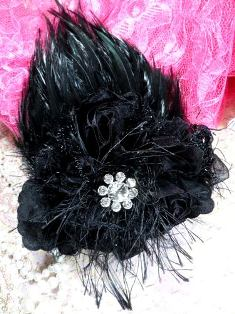 FB56 Black Floral Rhinestone Feather
