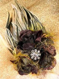 FB56 Brown Striped Floral Rhinestone Feather