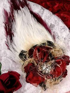 FB56 Burgundy & Ivory Floral Rhinestone Feather