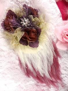 FB56 Mauve Plum Floral Rhinestone Feather