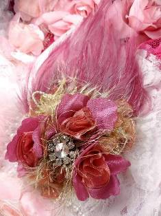 FB56 Rose & Plum Floral Rhinestone Feather