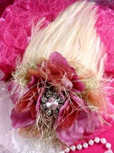 FB56 Rose & Beige Floral Rhinestone Feather