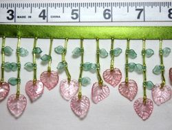 """C31  Pink Leaf Designer Beaded Fringe Sewing Trim 2.25"""""""