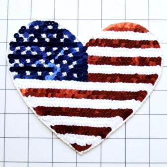 "FS5788B Large Patriotic Heart Beaded Sequin Applique 6.5"""