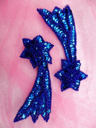 """FS652 Shooting Star Appliques Royal Blue Mirror Pair Beaded Sequin 4"""""""