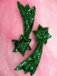 FS652 Shooting Star Appliques Green Mirror Pair Beaded Sequin 4""